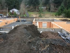 The footings and foundation walls are poured. Crawl space walls are being constructed.