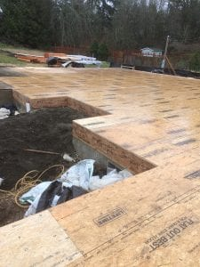 Subfloor down. So nice to have a flat surface to work off